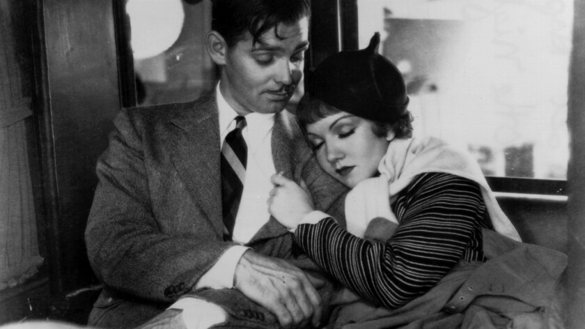 """Clark Gable and Claudette Colbert in  """"It Happened One Night."""""""