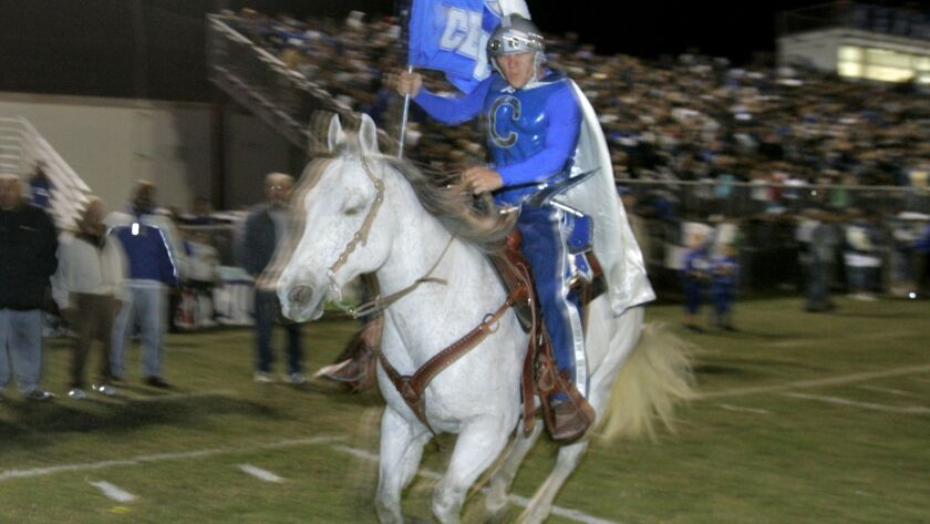 The mounted Spartan is a staple at Central home games in El Centro. CHARLIE NEUMAN • U-T