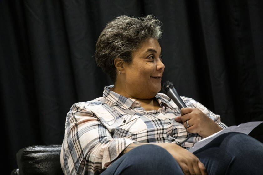 LOS ANGELES, CA --FEBRUARY 20, 2019 --Writer and editor Roxanne Gay interviews author Marlon James (