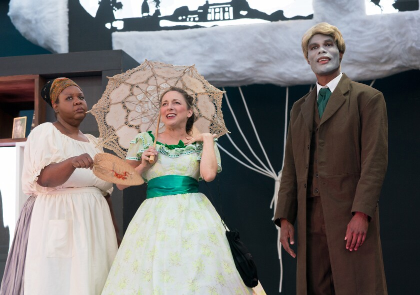 """Pam Trotter, Vanessa Claire Stewart and Matthew Hancock in the Fountain Theatre's """"An Octoroon."""""""