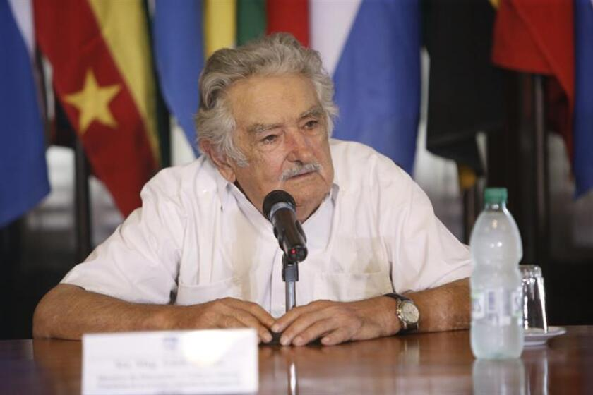 Uruguayan ex-President Jose Mujica gives a press conference on Nov. 22, 2018, in Montevideo, Uruguay. Mujica said both Uruguay and Peru understand the importance of the right of asylum and that some patience is needed to clarify the legal situation of Peruvian former head of state Alan Garcia, who entered Uruguay's embassy in Lima to ask for diplomatic asylum on Nov. 17, hours after a Peruvian court granted a request from prosecutors to bar him from leaving the country for 18 months as authorities investigate a charge that he took bribes from Brazilian construction giant Odebrecht. EPA-EFE/Federico Anfitti
