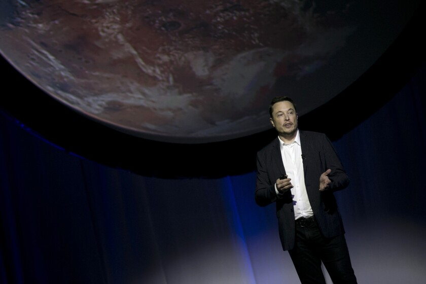 SpaceX founder Elon Musk speaks during the 67th International Astronautical Congress in Guadalajara, Mexico, Tuesday, Sept. 27, 2016.