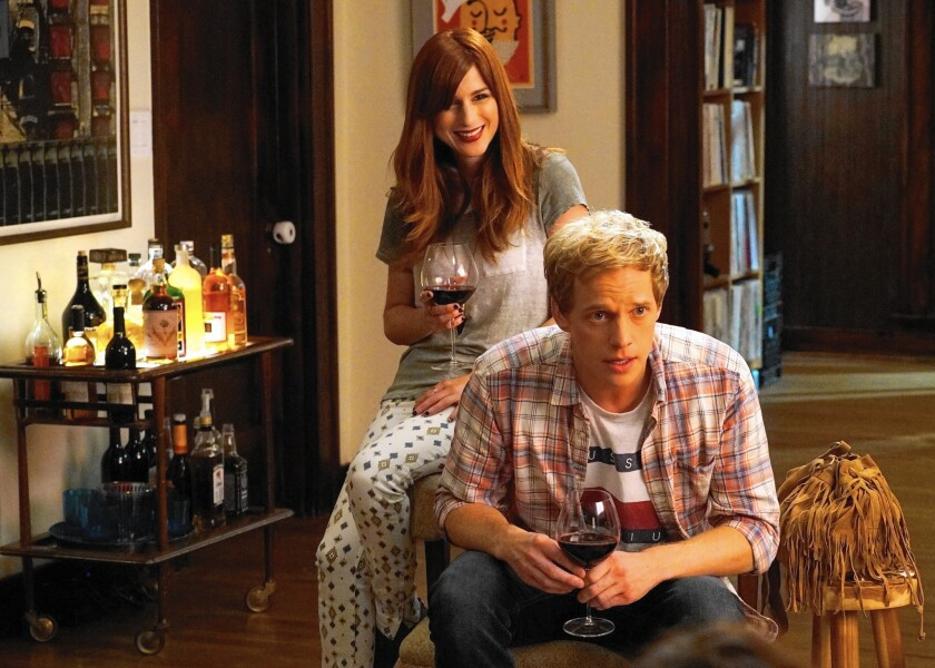 "Aya Cash as Gretchen and Chris Geere as Jimmy in ""You're the Worst."""