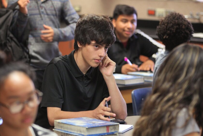 Obed Camacho, a junior at El Camino High School, says that Encuentros Leadership has helped him stay focused on school. Camacho, pictured here in his physics class, has a 4.0 grade point average.
