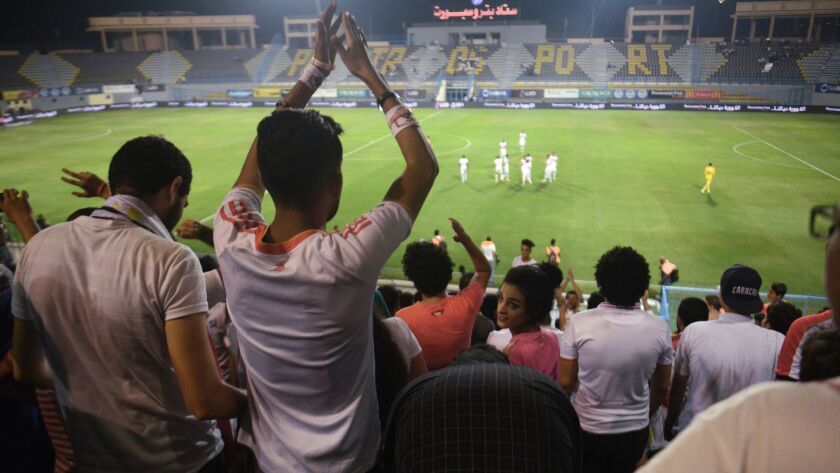 Egyptian football fans during an Egyptian Premier League match between Zamalek and Enppi -- the firs