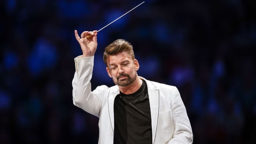 LOS ANGELES, CALIF. - JULY 31: Matthias Pintscher conducts the Los Angeles Philharmonic in a progra