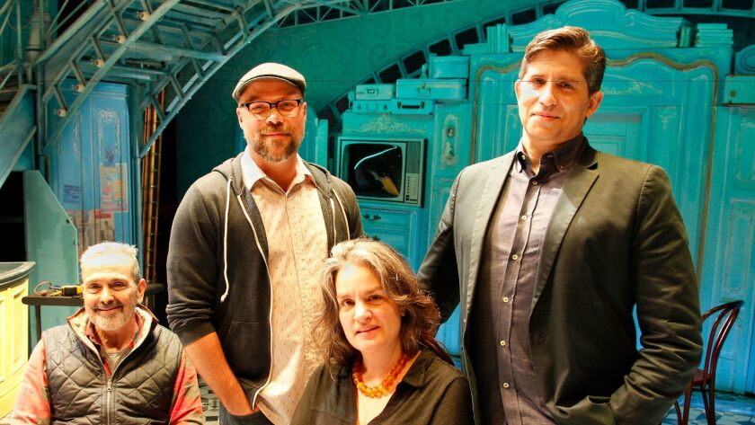 "The ""Amélie"" creative team is, standing, from left, co-lyricist Nathan Tysen and lyricist-composer Daniel Messé and, in front, script author Craig Lucas and  director Pam MacKinnon."