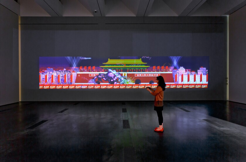 """Feng Mengbo's """"Long March: Restart"""" (2008), a large-scale video installation, was among the 10 works acquired at LACMA's Collectors Committee 2014 event."""