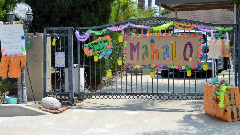 Mary Spadoni's  Costa Mesa home is decorated in Hawaiian theme for the month of August.