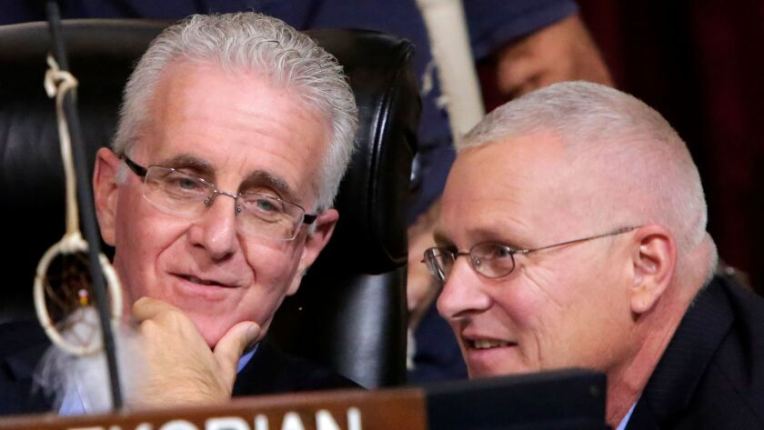 Los Angeles City Councilmen Paul Krekorian, left, and Mike Bonin serve on the council's Budget and Finance Committee.
