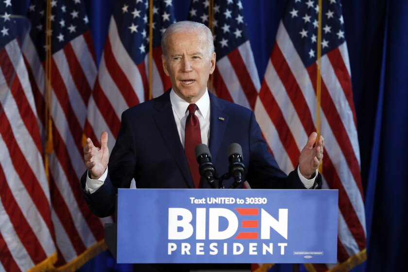 Democratic presidential candidate Joe Biden in New York in January.