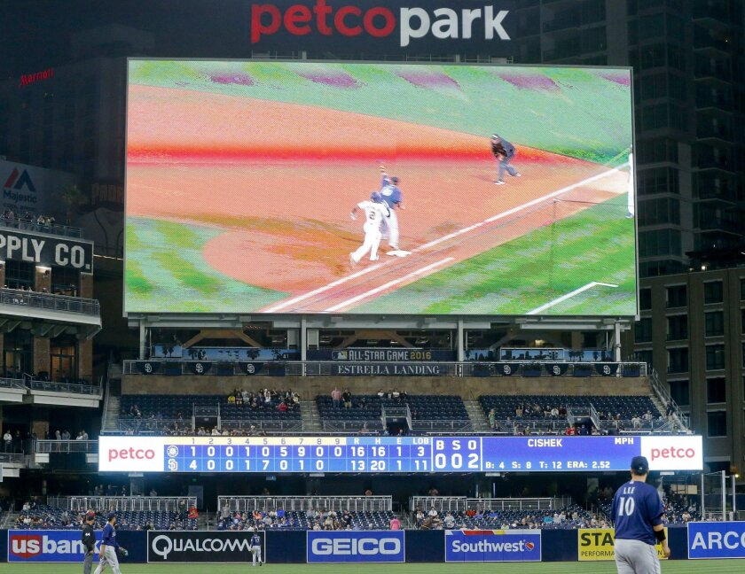 The scoreboard at Petco Park tells the story of the Seattle Mariners' comeback from a 10-run deficit on the way to a 16-13 victory over the San Diego Padres in a baseball game Thursday, June 2, 2016, in San Diego. (AP Photo/Lenny Ignelzi)