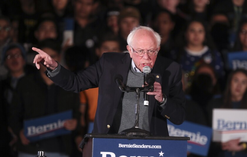 Democratic presidential candidate Bernie Sanders speaks as he holds an immigration rally at San Ysidro High School on Friday, December 20, 2019 in San Diego, California.
