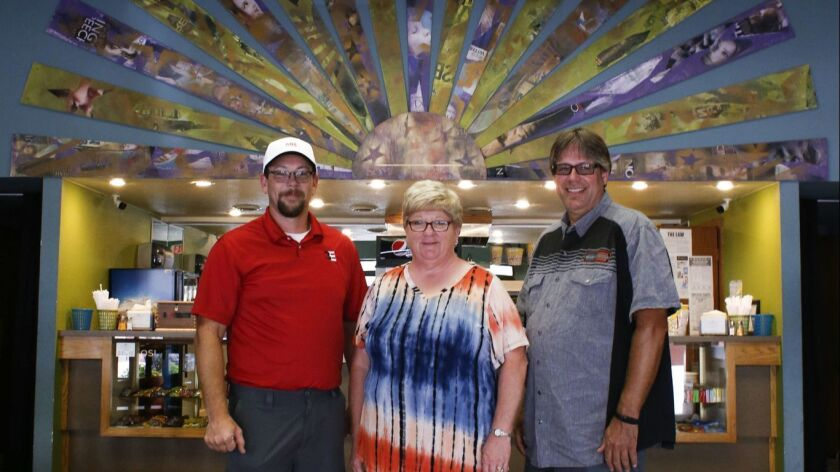 WEBSTER CITY, IA, AUGUST 18, 2018: HERO board members Jake Pulis (from right), Kay Ross and presiden