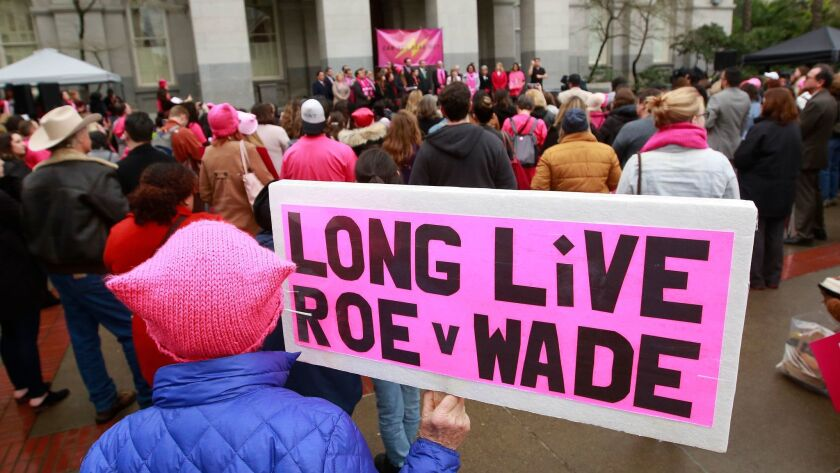 Abortion rights supports hold a rally in Sacramento on Jan. 22 celebrating the 45th anniversary of the Roe vs. Wade decision.