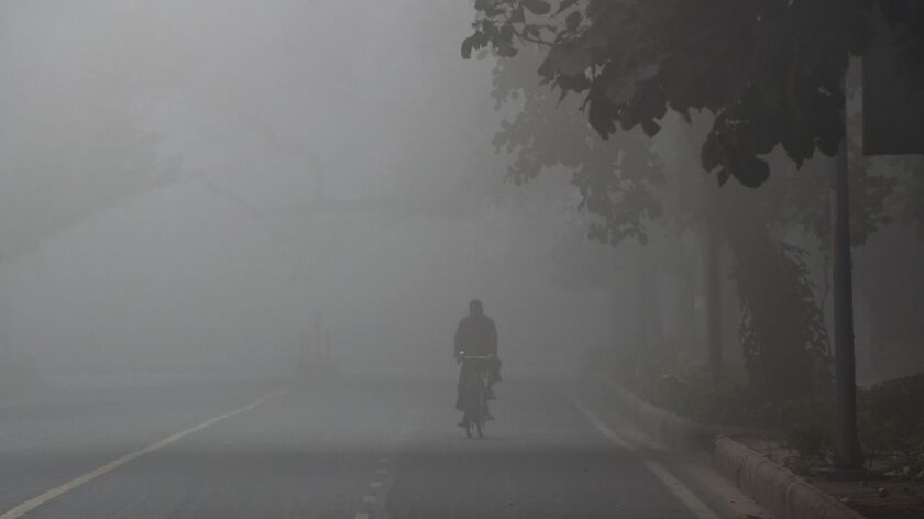 An Indian cyclist is seen amid heavy smog in New Delhi.