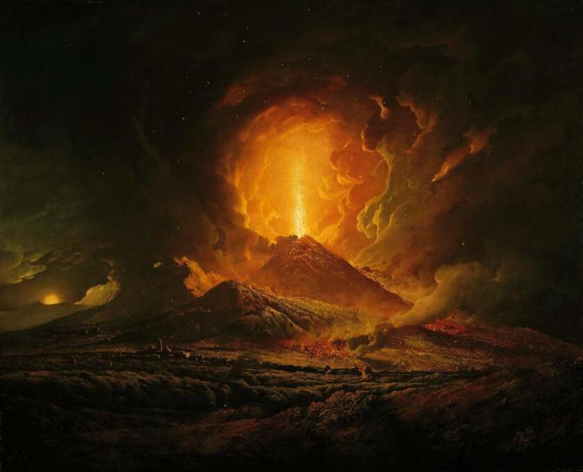 Joseph Wright of Derby, pintura al óleo de una erupción volcánica