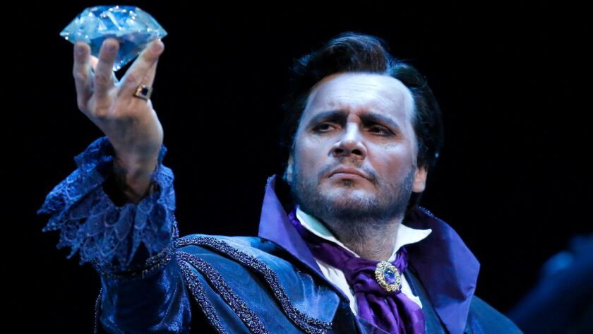 """LOS ANGELES, CA - MARCH 24, 2017: Nicolas Testé as """"Dapertutto"""" in the L.A. Opera production of """"The"""