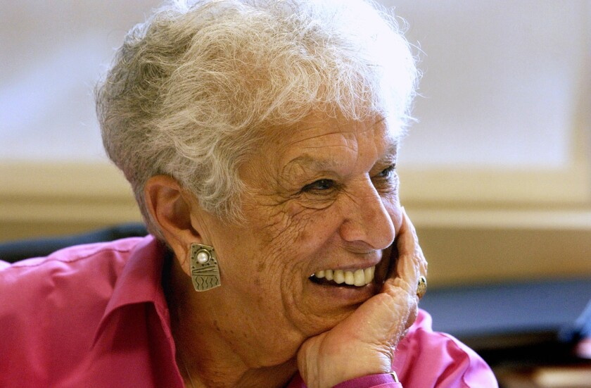 """FILE - This Sept, 2004, file photo shows Gert Boyle at the company's headquarters in Beaverton, Ore. Boyle, the colorful chairwoman of Columbia Sportswear Co. who starred in ads proclaiming her as """"One Tough Mother,"""" died Sunday, Nov. 3, 2019. She was 95. (Stephanie Yao/The Oregonian via AP, File)"""