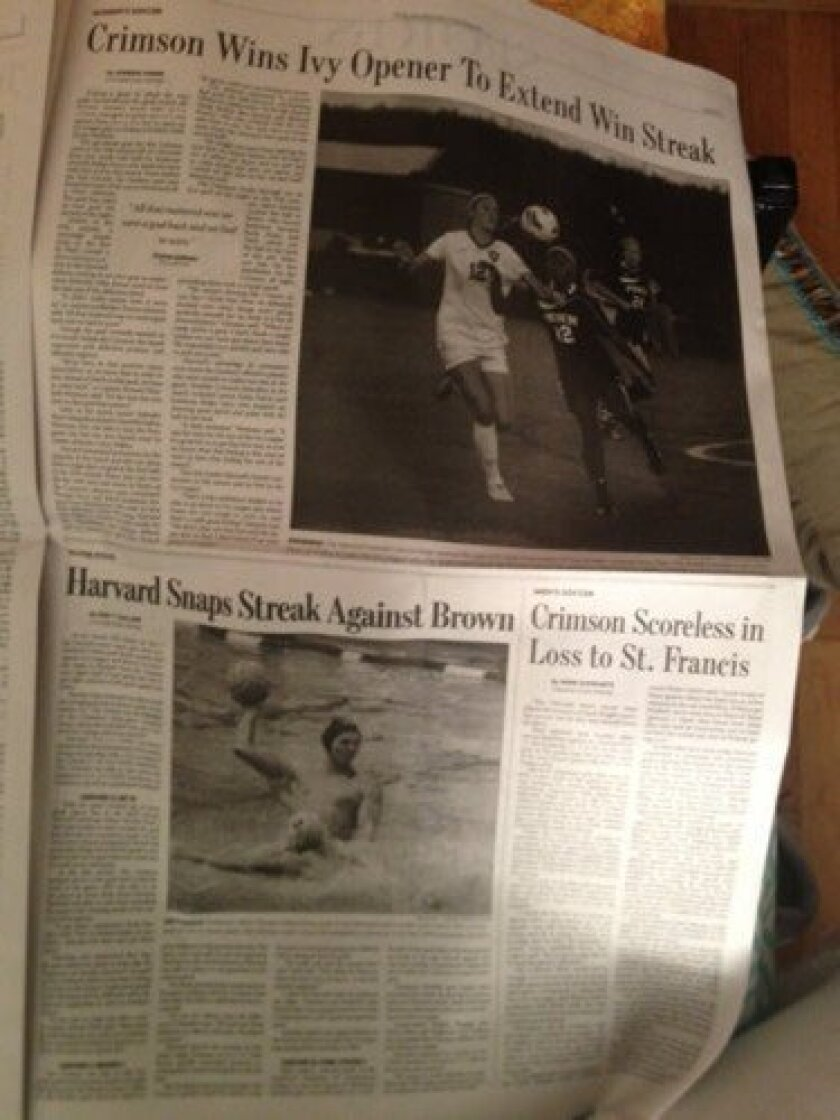 Karly Zlatic and Viktor Wrobel, two former La Jolla student-athletes, are featured on the same sports page of the Harvard Crimson. Courtesy