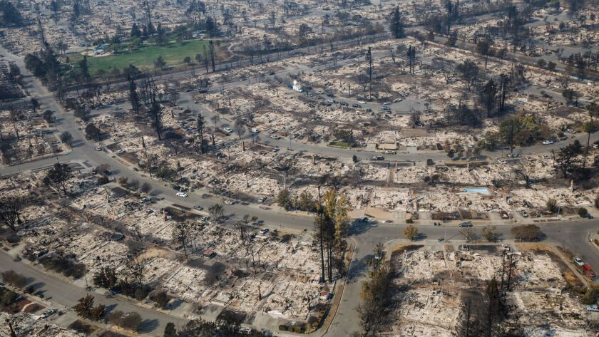Aerial view of the damage caused by wildfire that destroyed the Coffey Park neighborhood in Santa Rosa, Calif.