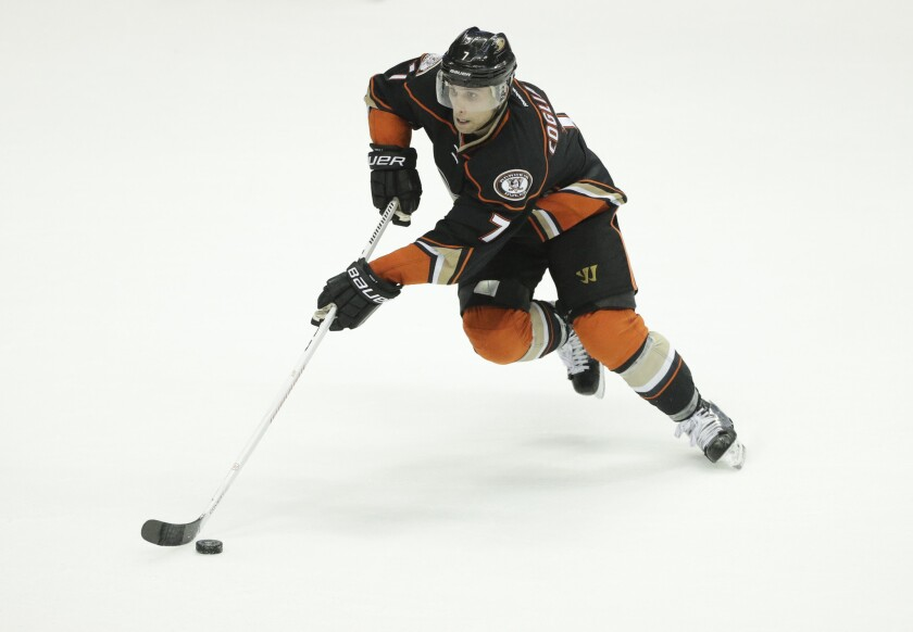 Ducks forward Andrew Cogliano, shown during a Dec. 7 game against Carolina, has played in 734 consecutive games.