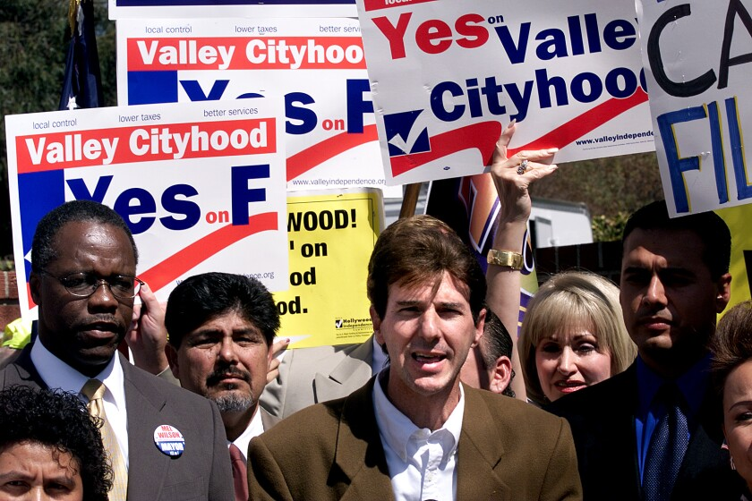 Jeff Brain, President of Valley VOTE speaks during a press conference.