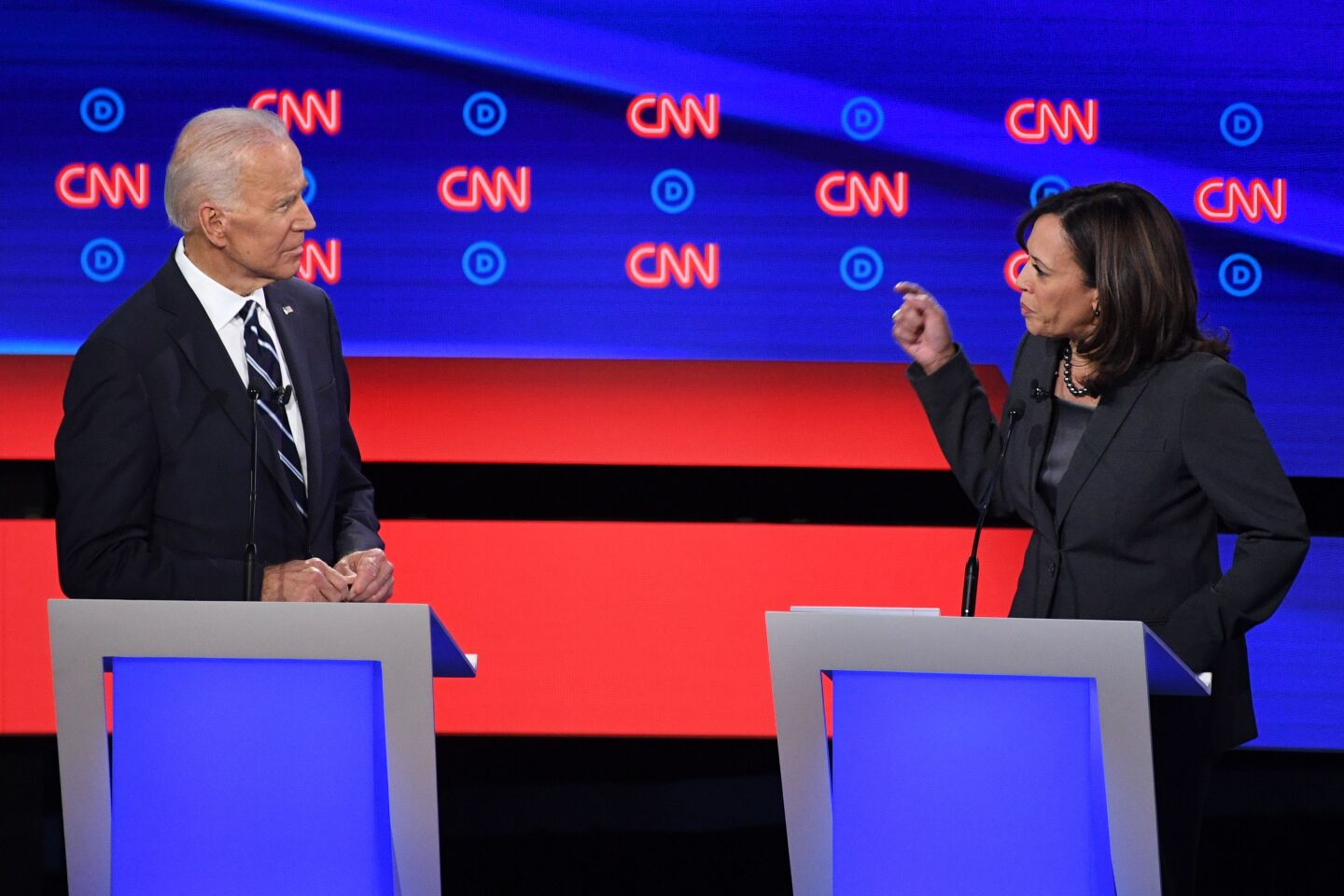 Democratic presidential hopeful Former Vice President Joe Biden (L) listens as US Senator from California Kamala Harris speaks during the second round of the second Democratic primary debate of the 2020 presidential campaign season hosted by CNN at the Fox Theatre in Detroit, Michigan on July 31, 2019. (Photo by Jim WATSON / AFP)JIM WATSON/AFP/Getty Images ** OUTS - ELSENT, FPG, CM - OUTS * NM, PH, VA if sourced by CT, LA or MoD **