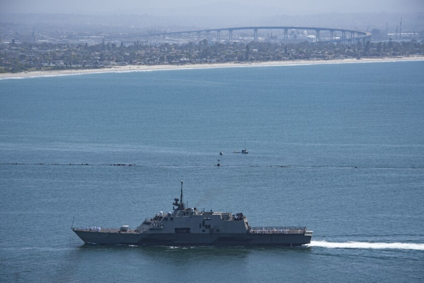 Littoral combat ship Freedom returns to Naval Base San Diego from her final deployment, April 12.