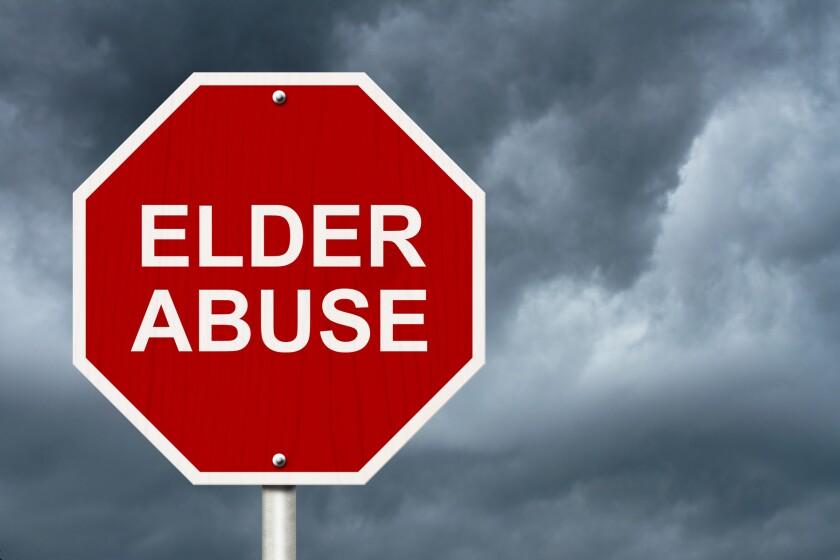 elder abuse in stop sign, dark clouds