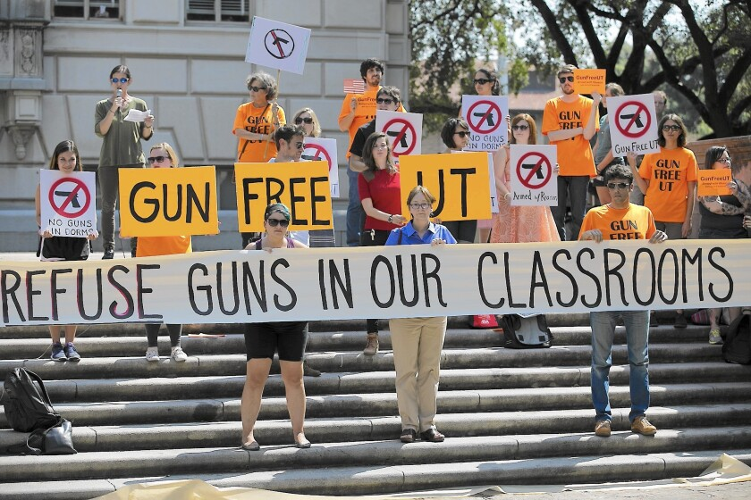 Opponents of a campus-carry law protest at the University of Texas at Austin in October.