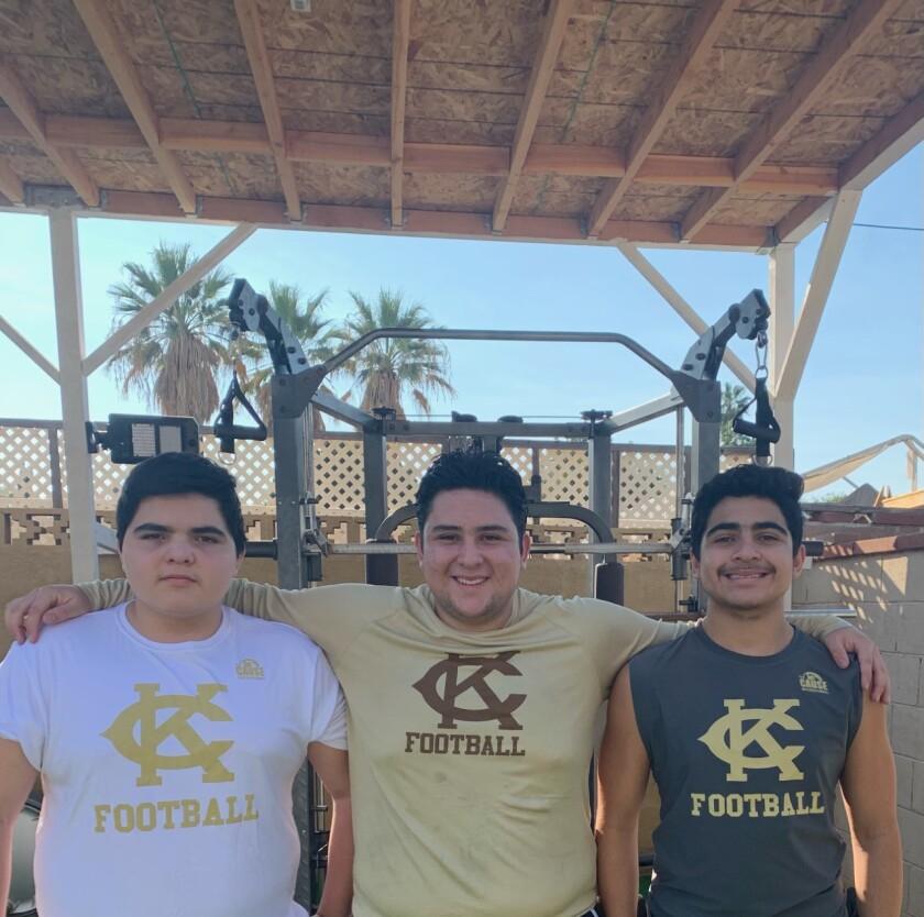 The Argott brothers, from left, freshman Jesse, senior Frankie and sophomore Gabriel, work out in their backyard.
