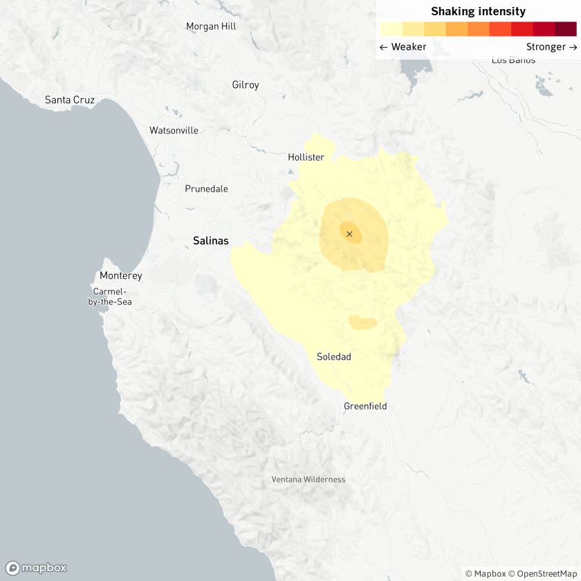 Magnitude 4.0 earthquake near Hollister, Calif.