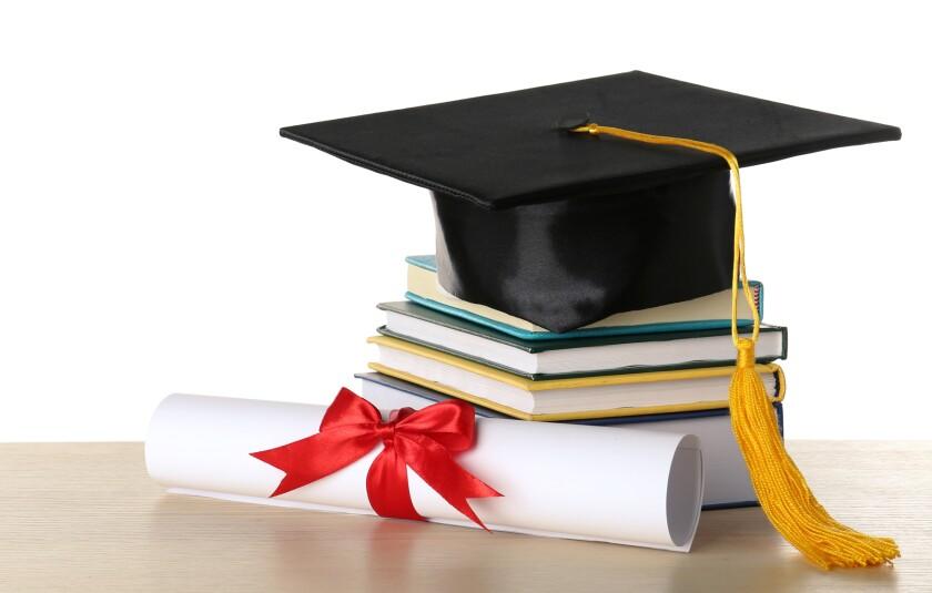 graduation cap, diploma, books