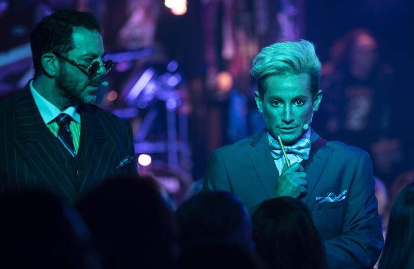 """""""I think it'll attract a new flock of theatergoers who maybe don't want to sit in a dark theater and just face forward for two-and-a-half hours,"""" said Frankie Grande, right."""