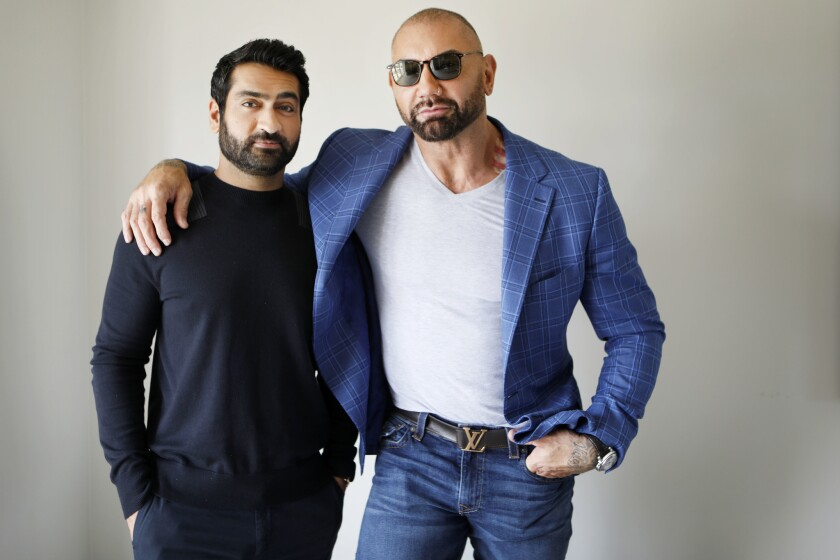 """LOS ANGELES, CA JUNE 15, 2019: Portrait of Paired portraits of """"Stuber"""" co-stars Dave Bautista, le"""