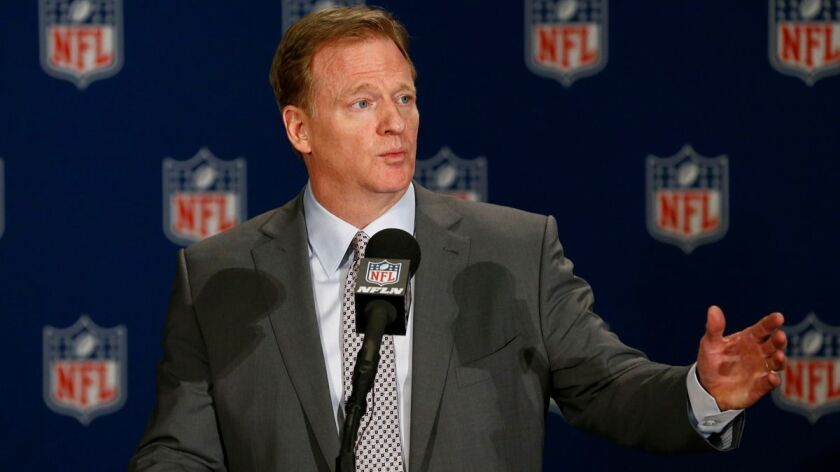 NFL Commissioner Roger Goodell speaks Monday during news conference at the league meetings.