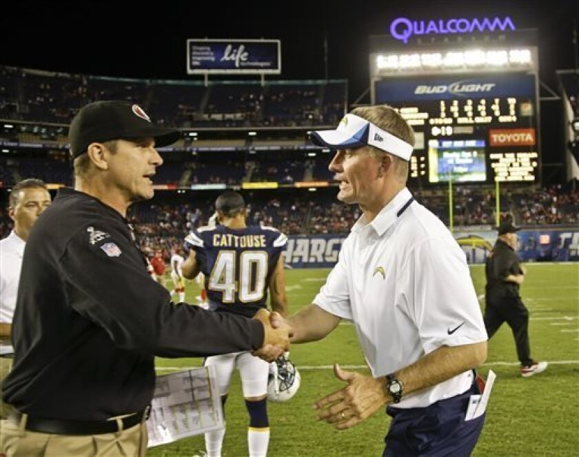 San Francisco 49ers coach Jim Harbaugh, left, and San Diego Chargers coach Mike McCoy shake hands after the 49ers' 41-6 victory in a NFL preseason football game Thursday, Aug. 29, 2013, in San Diego. (AP Photo/Lenny Ignelzi)
