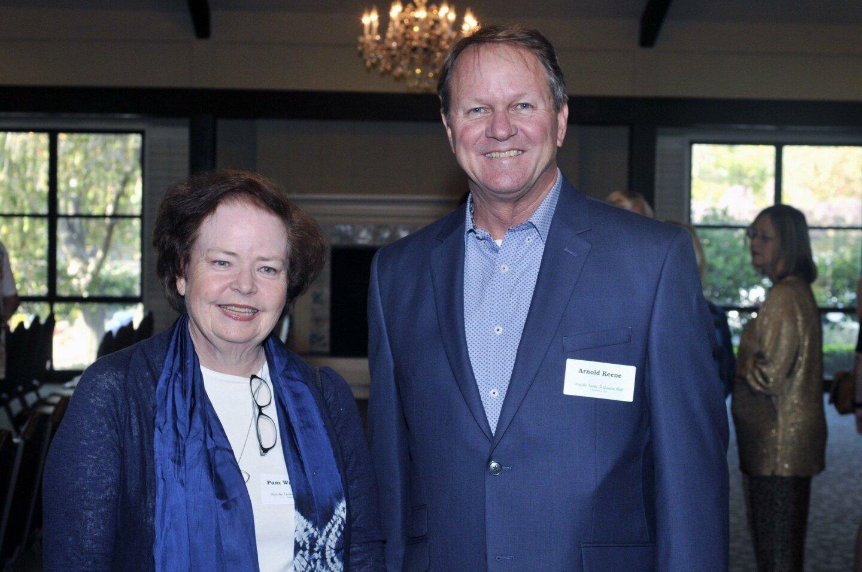 Garden Club Secretary Pam Wasserman, Arnold Keene of grant recipient Osuna Adobe Restoration Fund