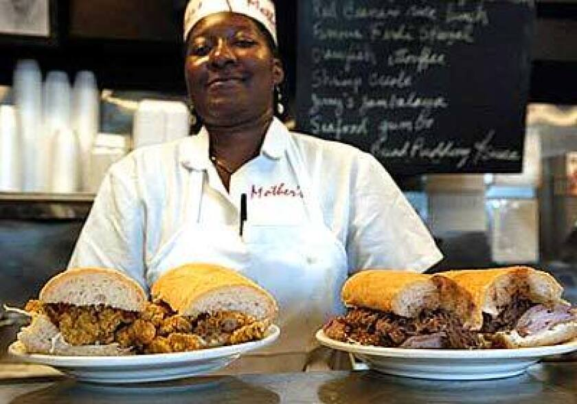 Rochon Armwood of Mother's in New Orleans stands firmly behind the restaurant's po' boys. Its speciality is the Famous Ferdi: ham and roast beef.