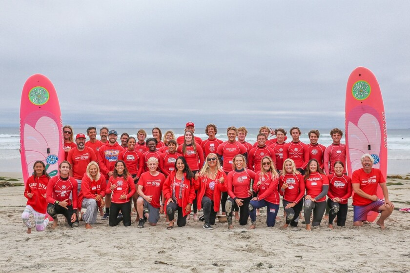 La Jolla's Surf Diva Shop & Surf School is owned by sisters Coco and Izzy Tihanyi (front row center, in jackets).