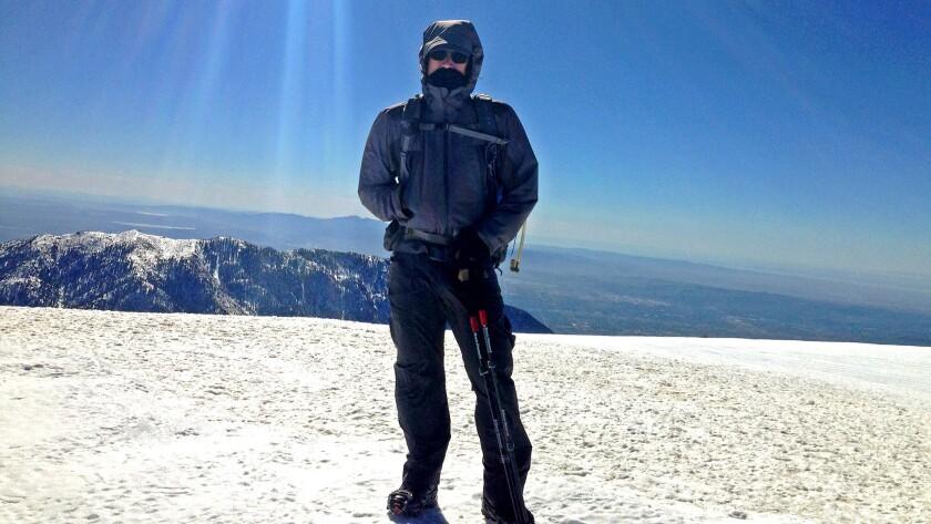 Times staff writer Geoffrey Mohan atop Mt. Baldy