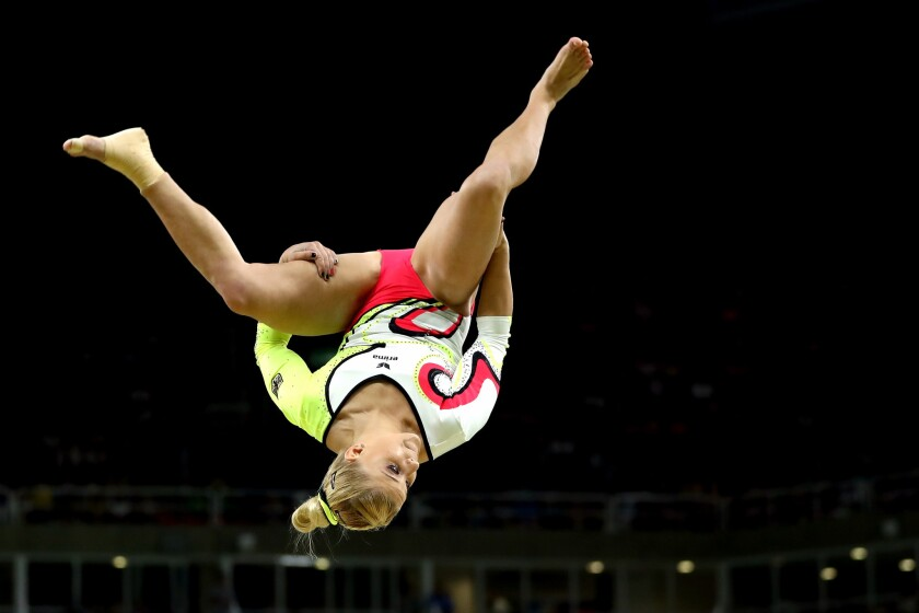 Gymnast Elisabeth Seitz of Germany competes during the women's team final at the 2016 Olympic Games in Rio on Aug. 9, 2016.