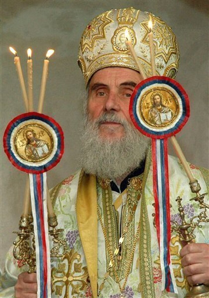 FILE - In this undated file photo, Serbian Orthodox Church moderate Bishop Irinej Gavrilovic is seen in the city of Nis, 200 kilometers (120 miles) south of Belgrade, Serbia. Gavrilovic has been elected as the new patriarch. Irinej, 80, was picked Friday in a lottery-like draw among three candidates who were initially chosen in a secret ballot by 45 Holy Synod bishops. (AP Photo/Kostadin Kamenov, file)