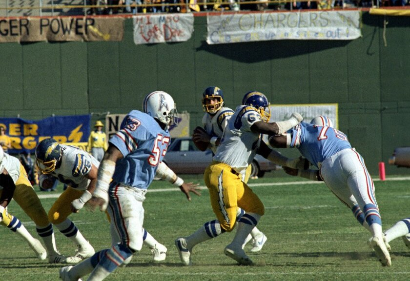 Dan Fouts was intercepted five times in the Chargers' infamous playoff loss to the Houston Oilers on Dec. 29, 1979, the worst defeat in franchise history.