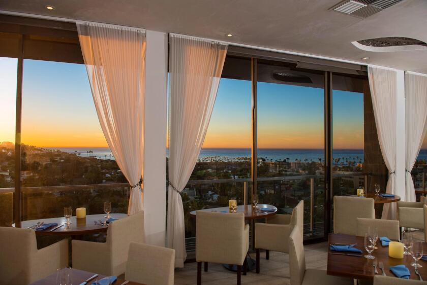 A sunset view from Cusp Dining & Drinks, located high atop Hotel La Jolla