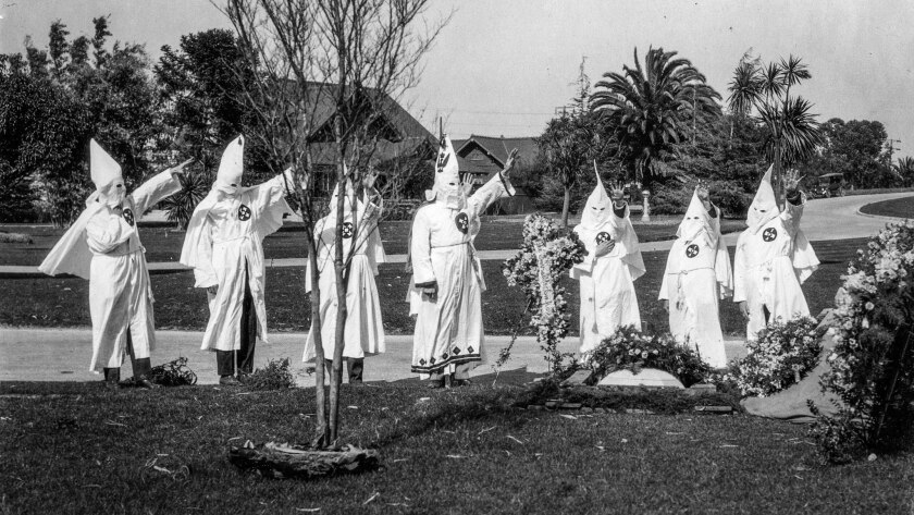 March 6, 1922: Members of the Ku Klux Klan at funeral services for member at Inglewood Cemetery. (No