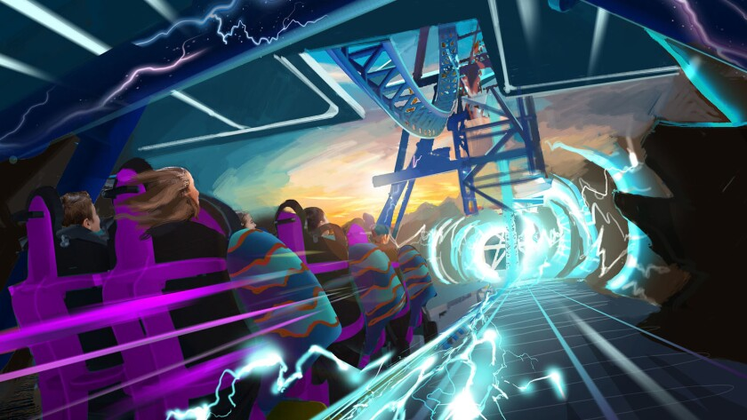 Concept art of the Electric Eel triple-launch coaster coming to SeaWorld San Diego in 2018.