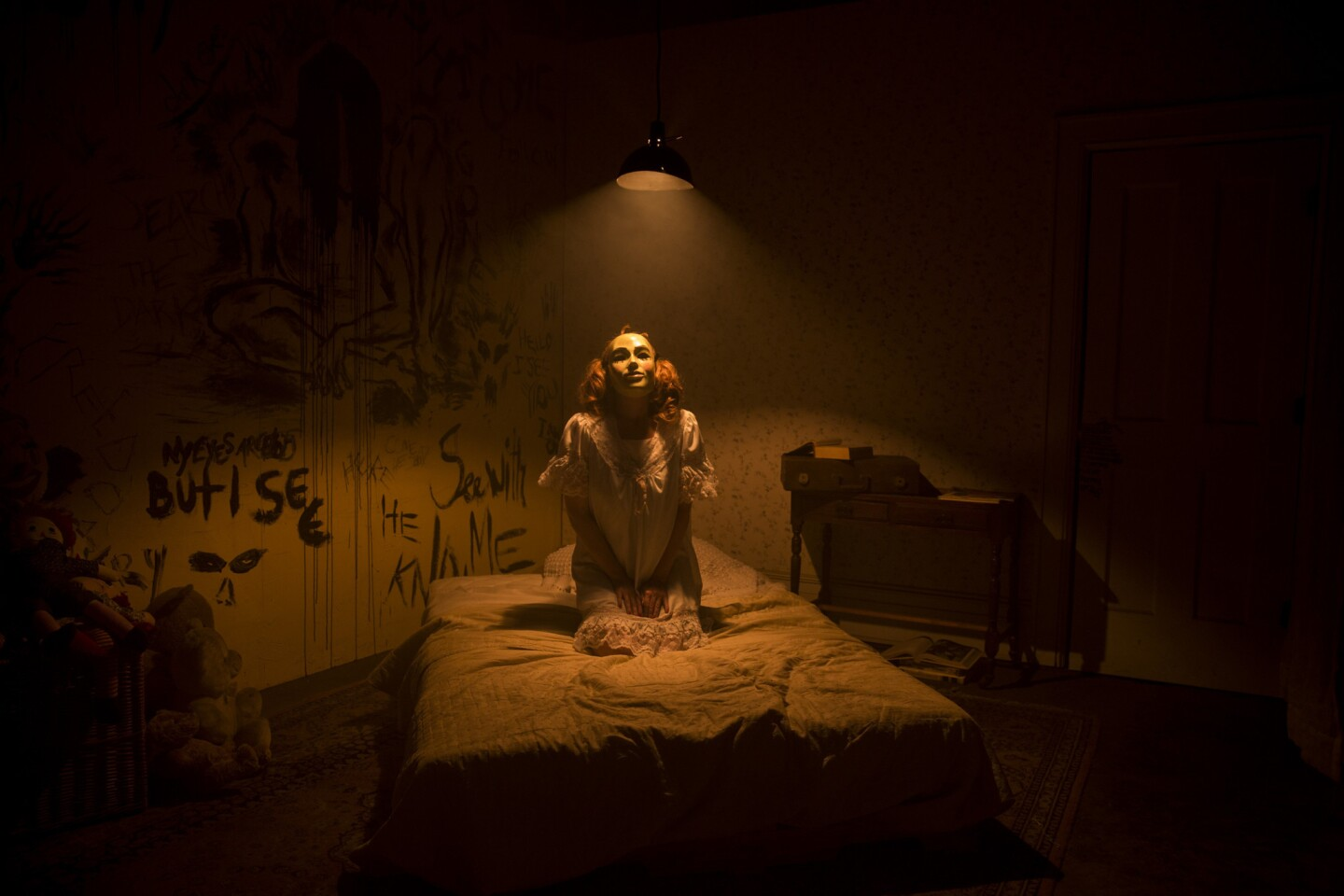 Actress Misha Reeves occupies one of several themed rooms inside CreepLA, a haunted house experience set up in a warehouse in the Glassell Park neighborhood.