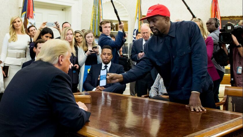 US President Donald J. Trump meets with US entertainer Kanye West and retired football player Jim Brown, Washington, USA - 11 Oct 2018